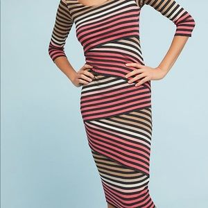 Anthropologie Striped-Knit Column Dress